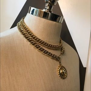 Vintage thick gold plated belt/ necklace.